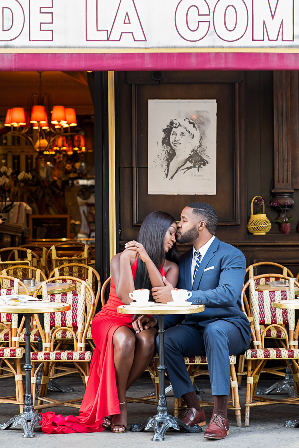 Paris engagement photos Paris cafe de la Comedie