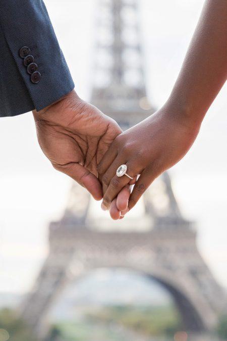 Paris engagement photos at the Eiffel Tower
