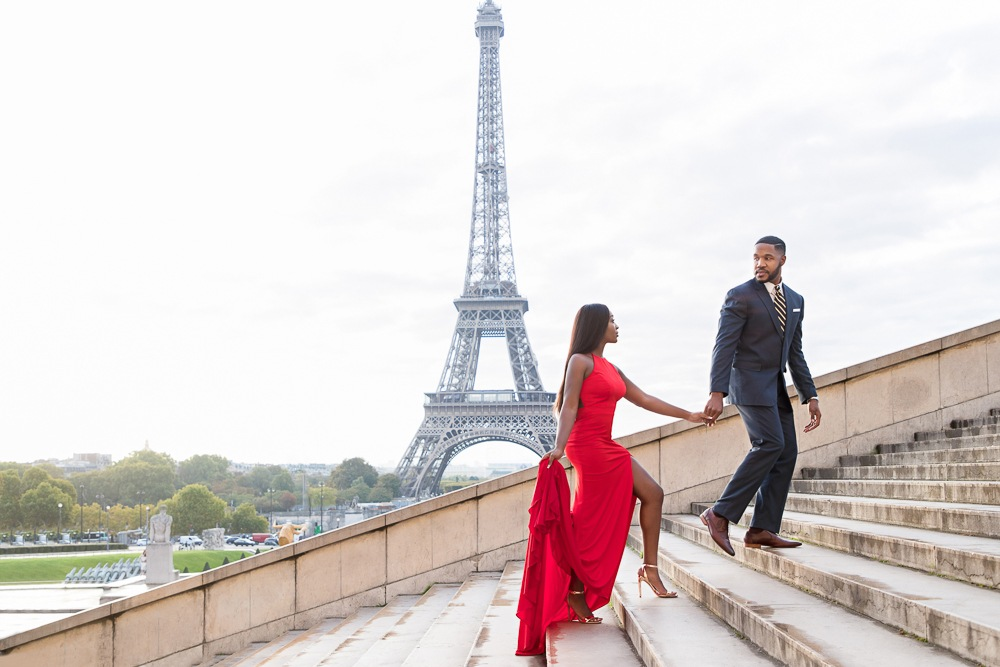 Paris engagement photos at the Eiffel Tower at Trocadero