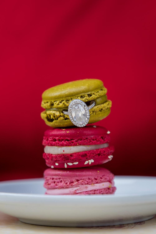Paris engagement ring with macarons