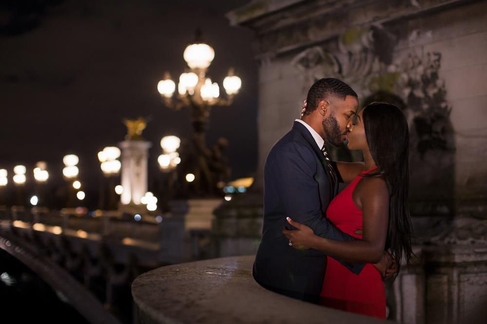 Paris engagement session at the Alexander III Bridge at night