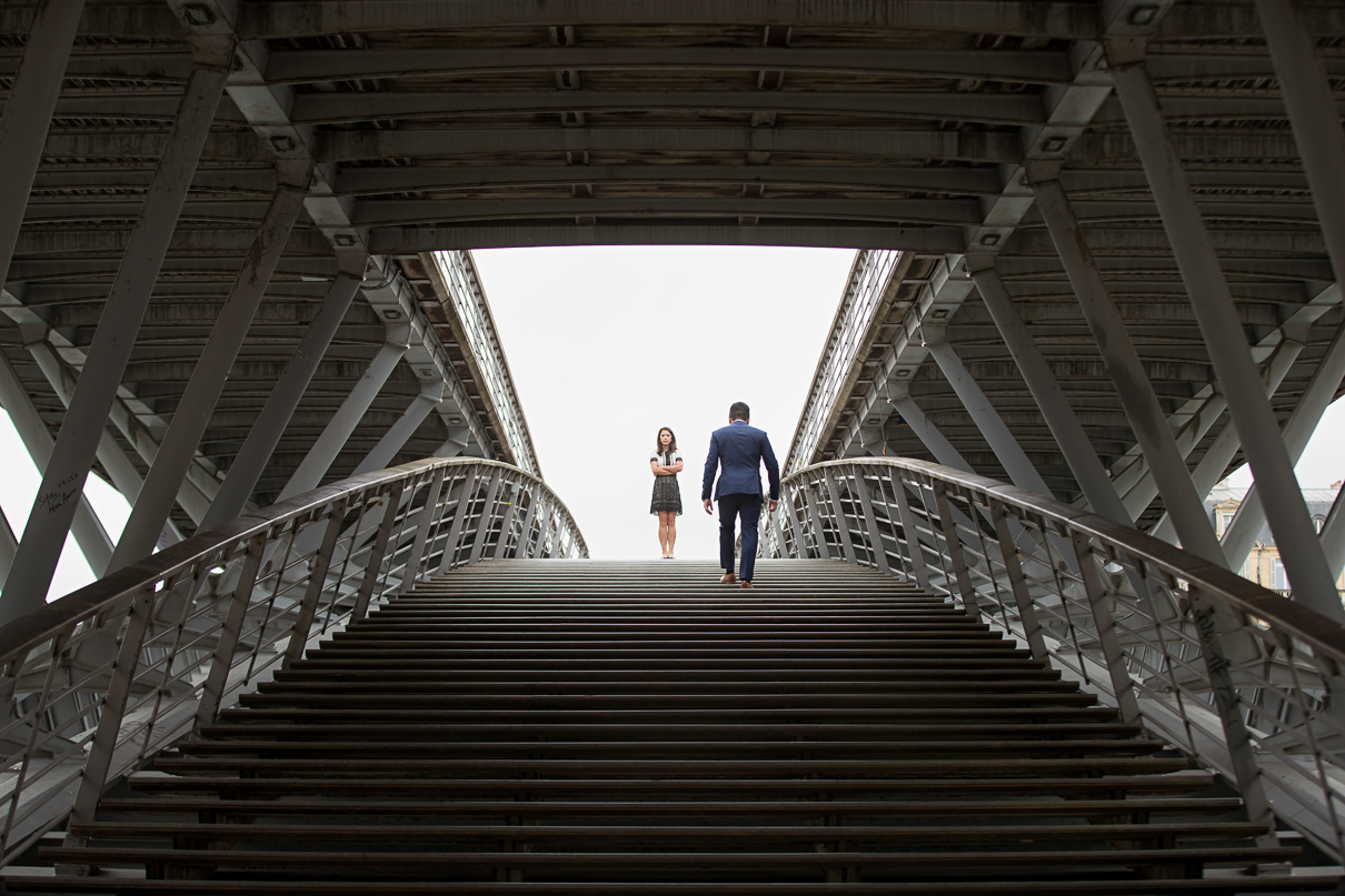 Paris pre-wedding photos bridge by Seine River