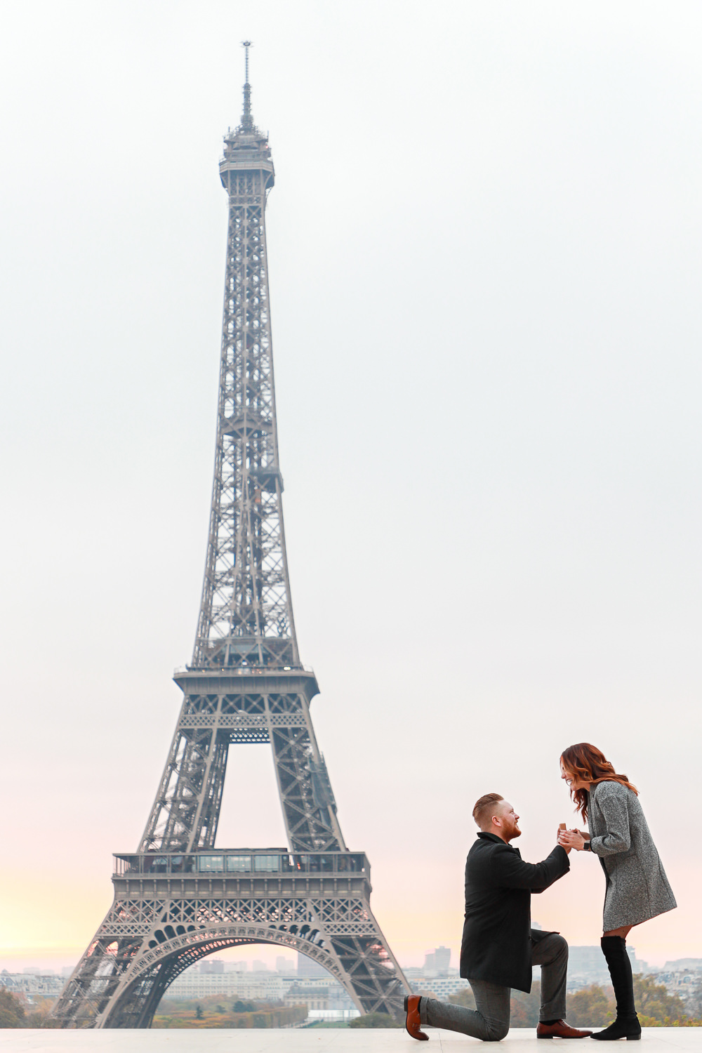 Paris surprise proposal at Trocadero with Eiffel Tower view