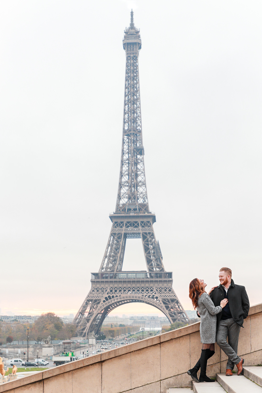 Paris surprise proposal at the Eiffel Tower at sunrise