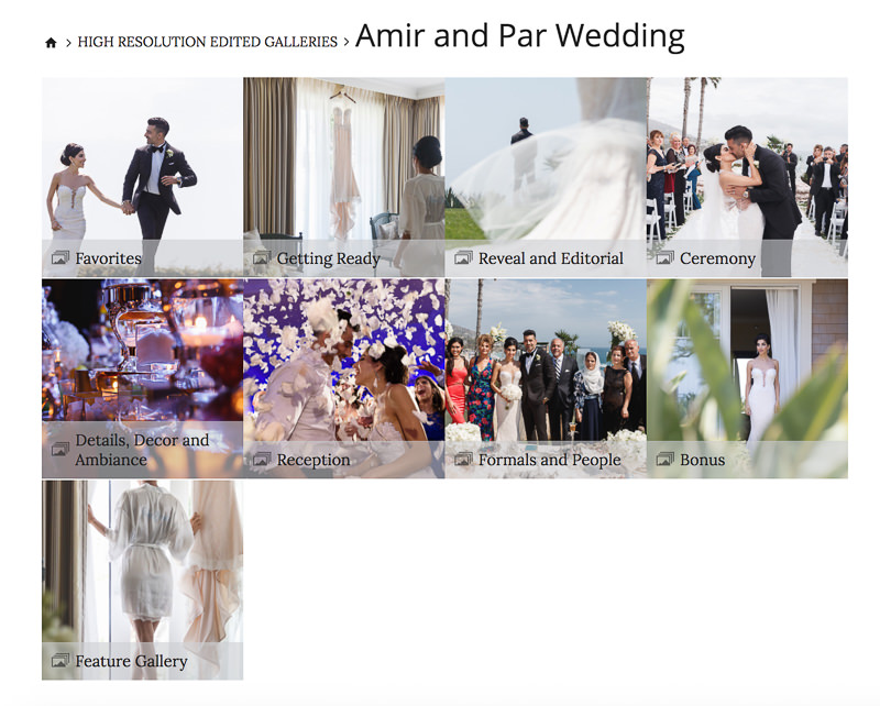 Online wedding photo gallery