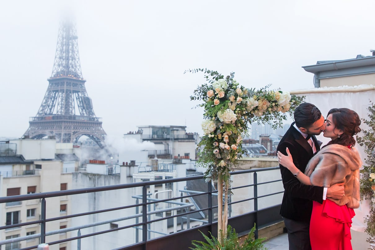 Shangri-La Luxury Paris proposal on an exclusive rooftop