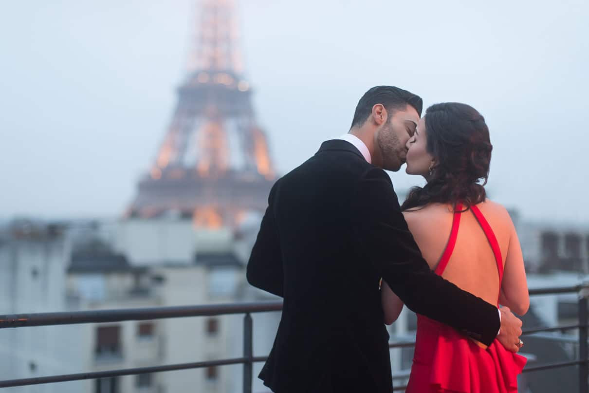 Shangri-La Luxury Paris proposal on an exclusive rooftop with ha