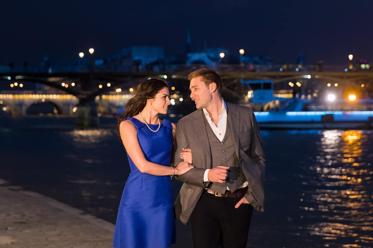 Paris photographer paris engagement photos Seine River at night