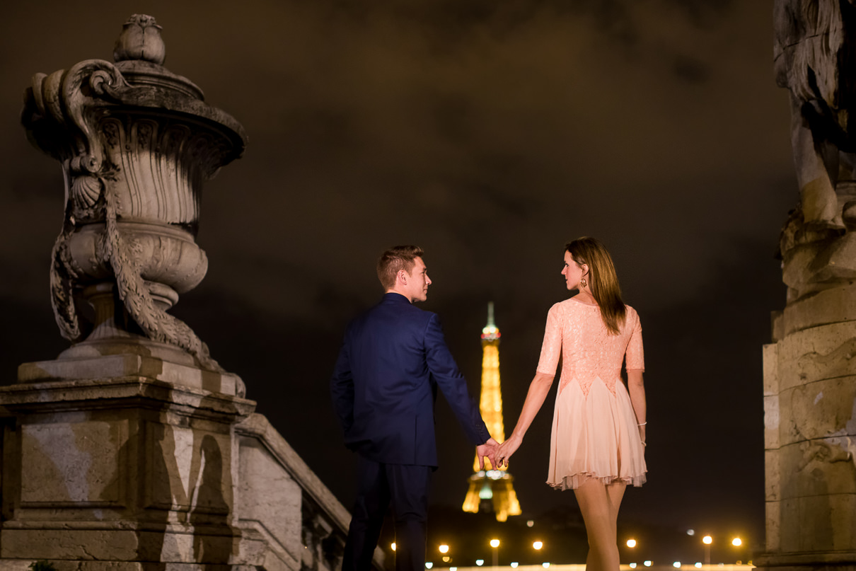 Paris engagement photos Alexander III at night