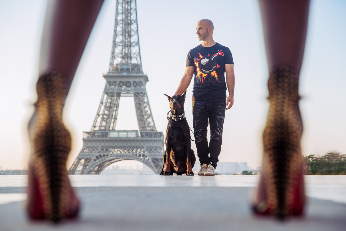 Paris engagement photos Eiffel Tower Trocadero at sunrise