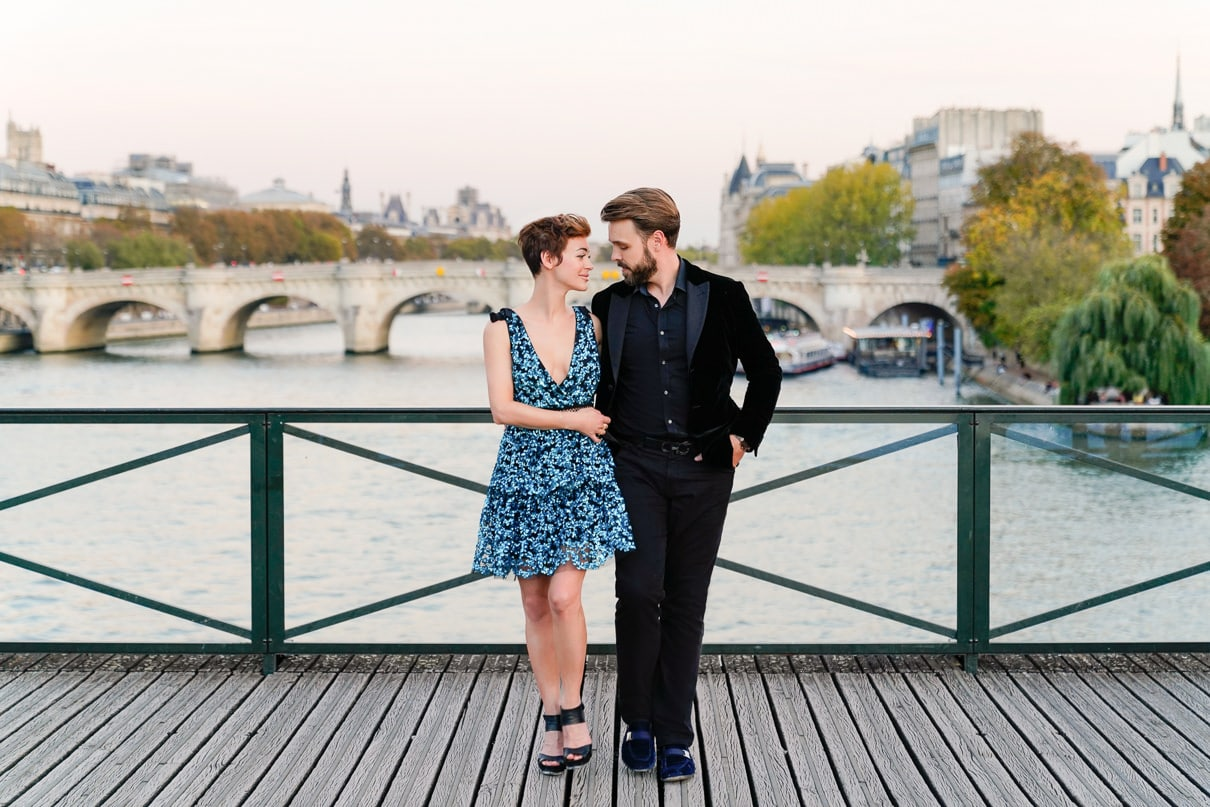 Paris engagement photos along the Seine at sunset