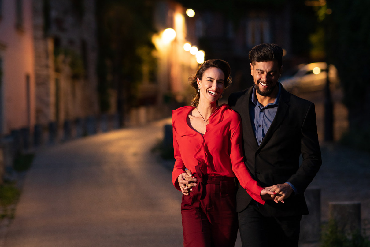 Paris engagement photos at Montmartre at night