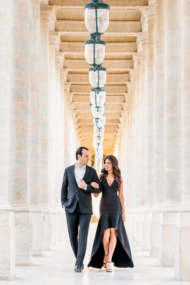 Paris engagement photos at Palais Royal