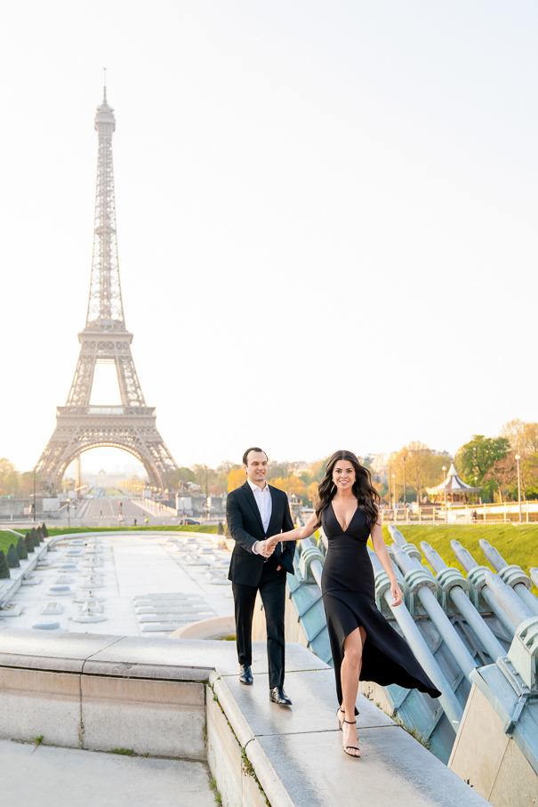 Paris engagement photos at the Eiffel Tower at sunrise