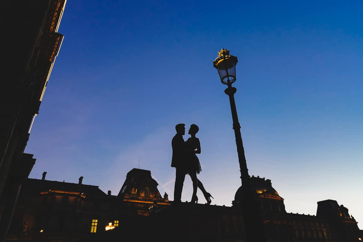 Paris engagement photos at the Louvre during the Blue Hour-2