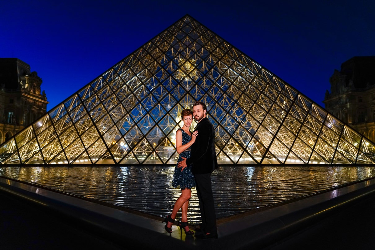 Paris engagement photos at the Louvre during the Blue Hour